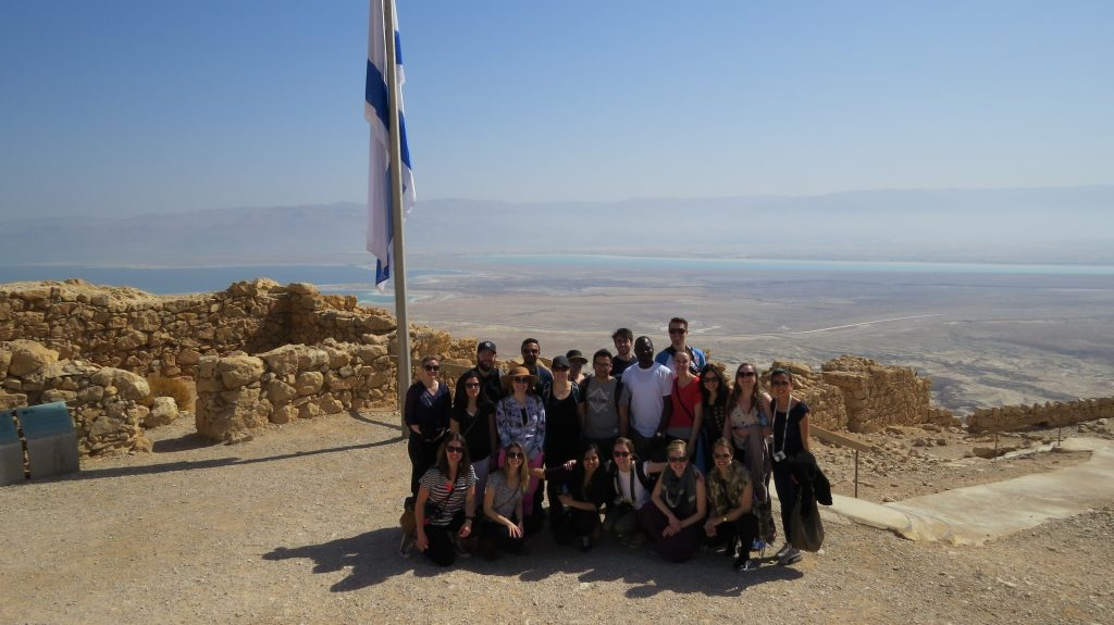 The School of Public Policy and Haskyane School of Business students tour the Masada, an ancient fortress in southern Israel's Judean Desert and Dead Sea. The visit ties in with one of the school's four research pillars: Energy and Environment.