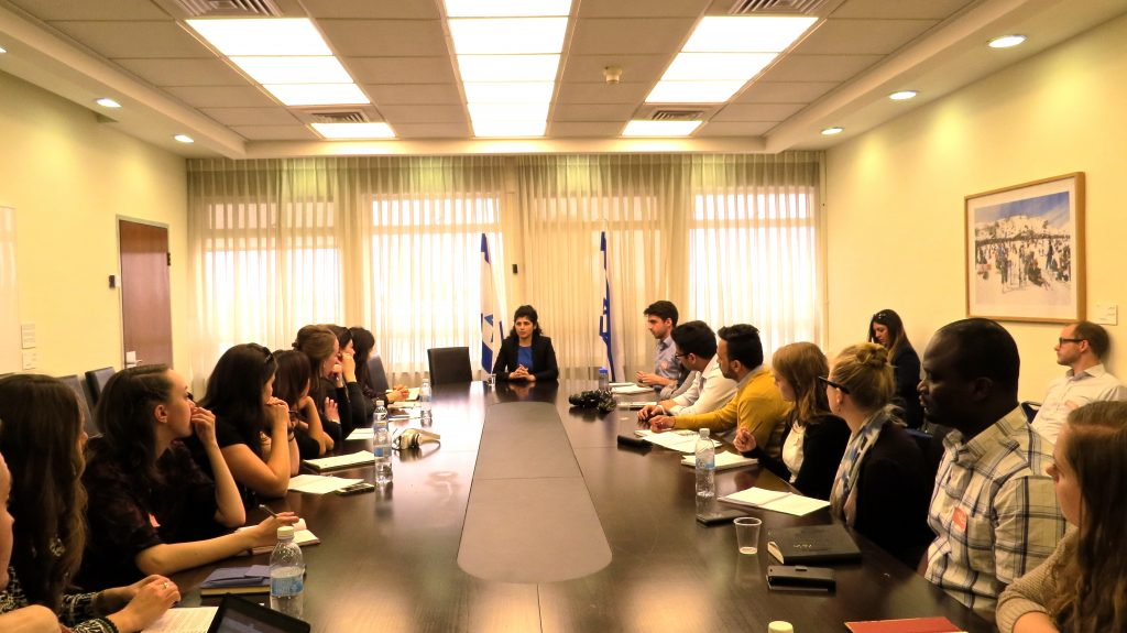 Students attend a lecture at the Knesset (Israeli Parliament) with Minister of the Knesset Sharren Haskel of the Likud Party.